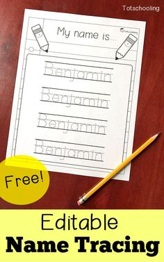 FREE personalized name tracing sheet for preschool and kindergarten. Can be edited to include any child's name. Great for kids learning to write their name, as well as kids who need more handwriting practice. kindergarten Editable Name Tracing Sheet Kindergarten Names, Preschool Names, Preschool Writing, Preschool Classroom, Preschool Binder, Writing Activities For Preschoolers, Preschool Printables, Preschool Activity Sheets, Toddler Preschool