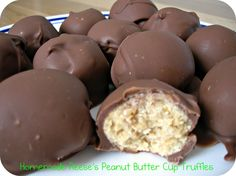 5 ingredients. No bake Homemade Reese's Peanut Butter Cup Truffles. I can't wait to make these.