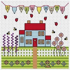 New Home Cross Stitch Card Cross stitch card kit by Fat Cat Cross Stitch.Small design so maybe suitable for beginners depending on their ability.  Contents: 14 count white aida fabric, stranded cottons, chart, needle, aperture card and envelope and full instructions. Approx size of design: 8.8cm x 8.8cm
