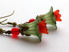 Green Earrings Hummingbird Flower Earrings by apocketofposies, $23.00