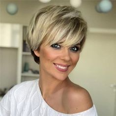 Short Blonde Wigs Straight Bob Hair Wigs with Bangs Natural Looking Synthetic Capless Wig Hair Hair Wigs Stylish Short Haircuts, Latest Short Haircuts, Short Pixie Haircuts, Short Hairstyles For Women, Wig Hairstyles, Straight Hairstyles, Trendy Hairstyles, Haircut Short, Hairstyles Pictures