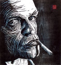 woodcut Portrait of Klaus Kinski by German born printmaker Dirk Hagner