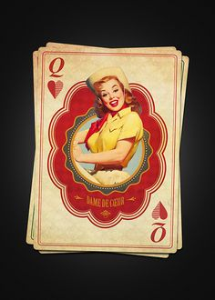 Vintage French Playing Cards by Moustafa Khamis: The Queen of Hearts   more here: http://playingcardcollector.net/2013/09/17/vintage-french-playing-cards-by-moustafa-khamis/