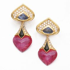 18K GOLD AND COLORED STONE EARRINGS, MARINA B.