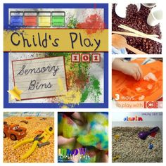 A round up of ideas for sensory bins as well as why sensory play is important.  Ideas included are simple, inexpensive and easily adaptable to your family.  Fun for children of all ages!