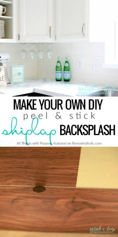 This DIY peel and stick shiplap backsplash tutorial is an easy and inexpensive way to give your kitchen some farmhouse style while sticking to your budget. Details from All Things with Purpose on Remodelaholic.com