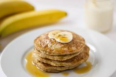 These 4-ingredient whole wheat gluten free banana oatmeal pancakes can be whipped up in 15 minutes to produce a healthy protein-packed breakfast.