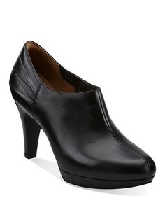 Walk in these babies all day!!This heeled pair is pure elegance in rich leather. Crafted lovingly witha stylish platform, sleek lines and subtle pleated accents, these booties add a chic touch to any ensemble. Ultra-soft leather inside and out combines with an extra-padded footbed tocushion the foot in sublime comfort.3.5'' heelLeather upperLeathe...