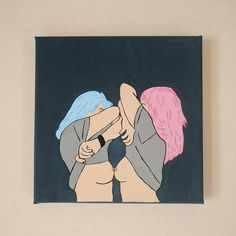 Girls Like Girls Pop Art Painting small by superflupie on Etsy Drawing Blood, Body To Body, Pop Art, Drawings, Unique Jewelry, Handmade Gifts, Anime, Painting, Vintage