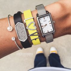 Keep collective tank watch, silver mesh, citron band, letters, pave heart, black band, pave geo bar.