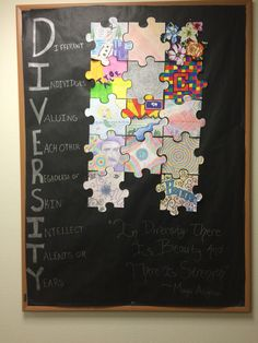 I had each of my residents decorate a puzzle piece and put them all together for this diversity bulletin board #RA