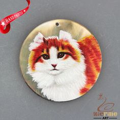 HAND PAINTED CAT CREATIVE NECKLACE SHELL PENDANT BEAD ZH30 00613 #ZL #PENDANT