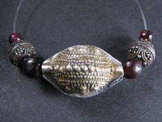 Small strand w/ SILVER & GARNET beads. MAURITANIA. Hard to find