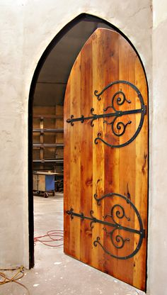 Medieval Arched wood door