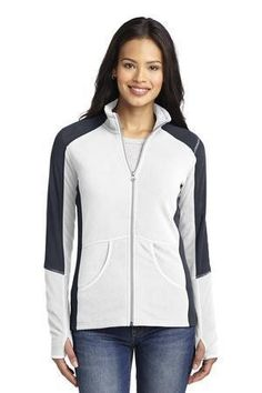 Lightweight, warm and budget-friendly, this super soft microfleece jacket has a flattering colorblock design on the shoulders, sleeves and sides for a sporty look. •7.5-ounce, 100% polyester microfleece •Gently contoured silhouette •Reverse coil zipper •Non-zippered front pockets •Open cuffs with binding •Thumbholes to keep hands warm •Front patch pockets •Open hem  NEW Port Authority® Ladies Colorblock Microfleece Jacket.