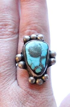 Antique Sterling Silver & Turquoise Ring by paststore on Etsy