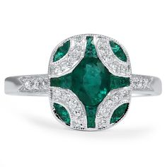 The Adria Art Deco Emerald  Ring