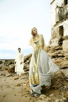 Love the gold overlay on this traditional Moroccan wedding gown.