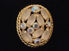 Vintage Brooch Frosted Glass AB Rhinestone by EraAntiquesandFinds