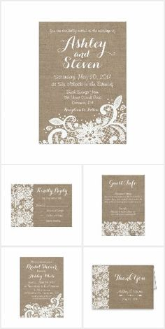 Rustic wedding idea with burlap and lace. Edit the rustic wedding invitations and print through Zazzle. By LangDesignShop