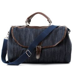 Fashion women canvas travel tote bags with leather trims