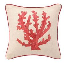 Red Coral Branch Embroidered Pillow. Product in photo is from www.wellappointedhouse.com