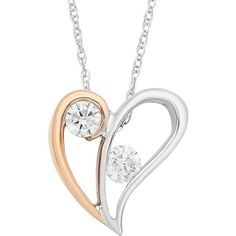 Two Tone 10k Gold 1/5 Carat T.W. Diamond 2-Stone Heart Pendant... ($540) ❤ liked on Polyvore featuring jewelry, necklaces, white, gold heart pendant, gold heart necklace, gold chain necklace, stone pendant necklace and white gold pendant