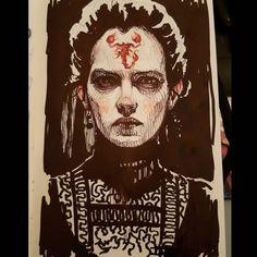 """Beloved know your master"" #Hallowink #PennyDreadful #EvaGreen #VanessaIves #scorpion #badass #Inktober #inktober2015 #ink #doodle #sketch #draw #drawing by subversivegirl"