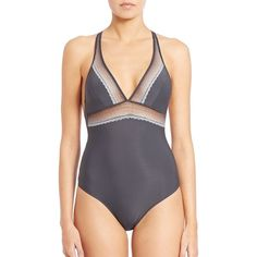 Natori Foundations Spectrum Bodysuit ($125) ❤ liked on Polyvore featuring intimates, shapewear, apparel & accessories and grey