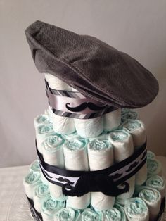 Mustache flat cap diaper cake by Tulippetalproduction on Etsy, $40.00