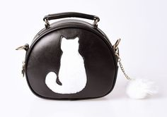 Sac à Main Pin-Up Rockabilly Lolita Kawaii Kitty Chat Pompom