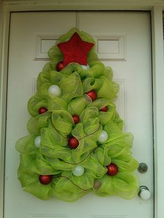 Christmas Tree Wreath- Deco Mesh Christmas Tree Wreath. $90.00, via Etsy.