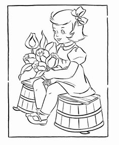 Valentine's Flowers Coloring Pages - Girl with a bouquet of Flowers Coloring Pages Winter, Blank Coloring Pages, Valentines Day Coloring Page, Unicorn Coloring Pages, Coloring Pages For Girls, Free Printable Coloring Pages, Boy Coloring, Coloring Books, Coloring Sheets
