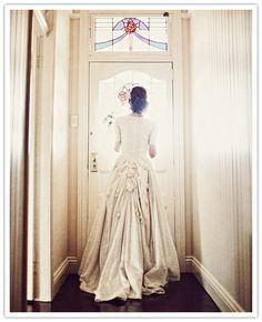 So much fabric, designed for autumn / winter weddings, we think. The bustle could fit a Victorian or Edwardian theme.