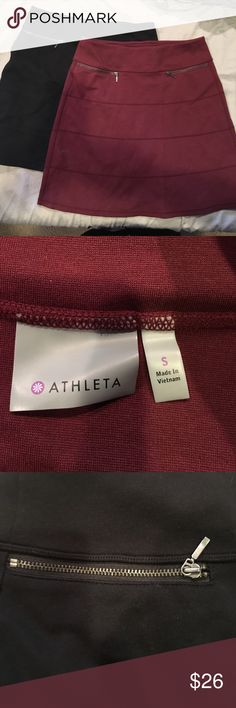 Athleta- 2 skirts- maroon and black-size 2 2 cute skirts from Athleta- size 2- both same style- 2 pockets with zippers on front- elastic waist 18 inch length- 40/cotton 29/modal 27/nylon 4/spandex- from smoke free home Athleta Skirts Midi