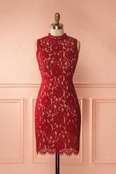 Valentine's Day with Aurona #Boutique1861 / Deep red lace open-back cocktail dress, romantic and flattering! #lace #valentinesday #cockaildresses