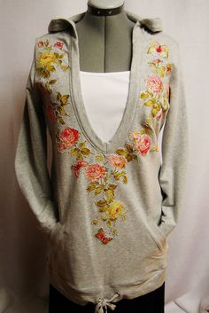 Custom Women's Hoodie With Rose Floral Fabric Applique Design Color Gray, Size Large  PaulaGsell Etsy