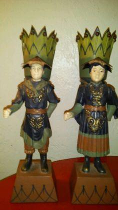 Vintage Pair Asian Hand - Painted Metal Statues / Vases