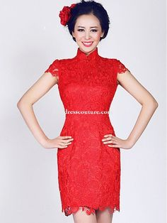 Red Short Lace Cheongsam / Qipao / Chinese Wedding / Evening Dress Evening Dresses