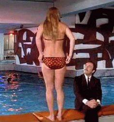 Return of the Pink Panther— Peter Sellers falling for a girl at the local pool