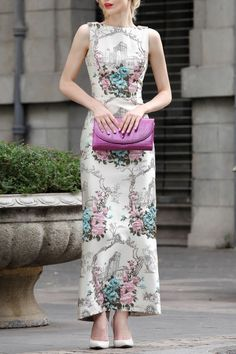 Differentes Apricot Sleeveless Flower Embroidered Maxi Dress | Maxi Dresses at DEZZAL