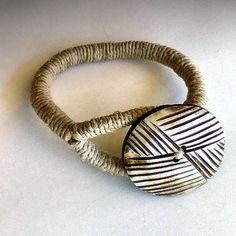 African style bracelet, Tribal rope bracelet, Hemp ethnic bracelet, Large button bracelet, Tribal Hemp Jewelry, Eco-friendly earth bracelet