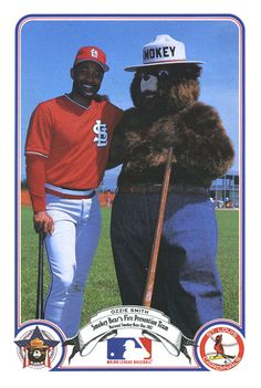 "Ozzie Smith and Smokey Bear. Known as ""The Wizard"" for his outstanding defense, Smith is in the baseball Hall of Fame."