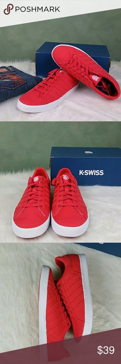[K-Swiss] Women's Belmont SO Fashion Sneaker K-Swiss Women's Belmont SO Fashion Sneaker New with Tags and Box Color: Cayenne/White Canvas Size: Ladies 11B(M) EU43 Canvas Durable canvas upper Court inspired sneaker Five stripe branding Vulcanized construction Canvas twill lining K-Swiss Shoes Sneakers