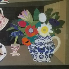 Wonderful #collage by textile designer Pat Albeck seen in the cafe at #emmabridgewaterfactory #jug #flowers