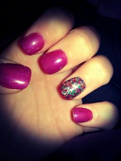 "Birthday nails! Purple gel polish and Deborah Lippmann polish in ""Happy Birthday"" on ring finger."