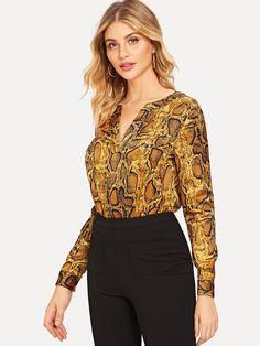 d9dcd6d24a5 Casual Animal Asymmetrical Top Regular Fit V Neck Long Sleeve Pullovers  Mustard Regular Length V-