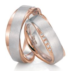 Platinum and rose gold wedding bands by Fischer