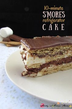 S'mores Refrigerator Cake - the easiest summer dessert ever! This is the perfect option when you don't want to turn on the stove or have last minute guests. You only need 6 ingredients & 10 minutes to make this delicious dessert. Easy Summer Desserts, Summer Dessert Recipes, Summer Deserts, Dessert Simple, Yummy Treats, Sweet Treats, Yummy Food, Delicious Recipes, Healthy Recipes