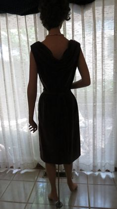 DRAMATIC BACK ON THIS #CUSTOM-TAILORED #SIXTIES #DINNER #DRESS.  In charcoal velveteen, it's a stunner! Morgana Martin, the Magicvintagespy Blog:  Magicvintagespy.com Book:  How to Find the Best in Vintage Fashion available on Amazon.com